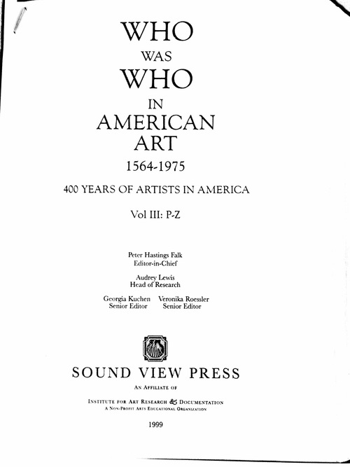 Who Was Who in American Art 1999 edition